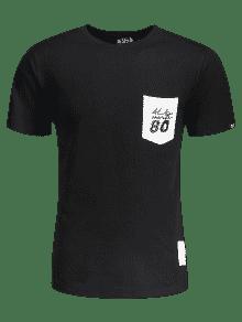 Del La Corta Negro Remiendo De Letra Camiseta La Bolsillo 2xl Manga Del De x1wqYznH