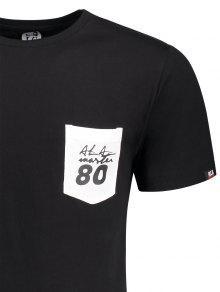 De Camiseta De Letra Corta Bolsillo Del 2xl Remiendo Del La Negro Manga La U6w5q6