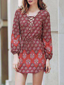 Loose Digital Print Round Neck Long Sleeve Dress - Red Xl