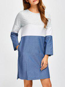 Color Block Denim Spliced Dress - Denim Blue L