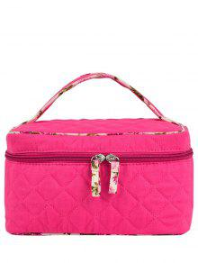 Quilted Top Handle Cosmetic Bag - Rose Red