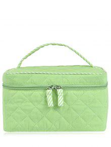 Quilted Top Handle Cosmetic Bag - Light Green