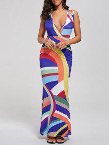 فستان ماكسي غارق الرقبة علية الخصر مخطط ميرميد  - L