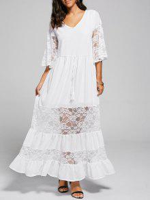 فستان الحفلة دانتيل التريم بخط A - أبيض S