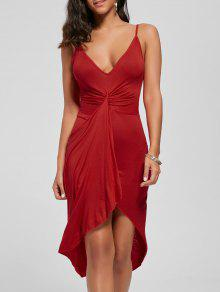 معقود فستان غير متناظرة - أحمر S