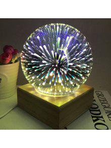الكرة الشكل الملونة الألعاب النارية أوسب الجدول مصباح مع قاعدة الخشب - أرجواني