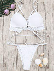 Juego De Bikini De Tanga De Copa Moldeada Con Volantes - Blanco M