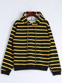 Drawstring Striped Longline Hoodie - Stripe L