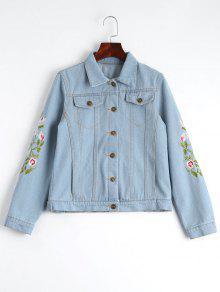 Button Up Floral Embroidered Denim Jacket - Light Blue M