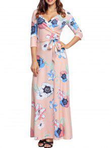 فستان طباعة الأزهار مع حزام طابق الطول - زهري Xl