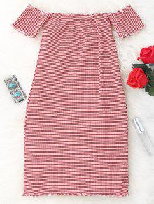 Striped Off Shoulder Mini Bodycon Dress - Red And White