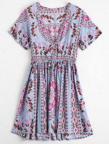 Plunging Neck Floral Print Dress - Floral L