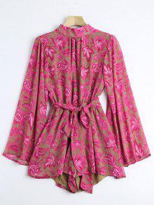 Bowknot Con Correa Floral Cortado Tee Shirt - Floral M