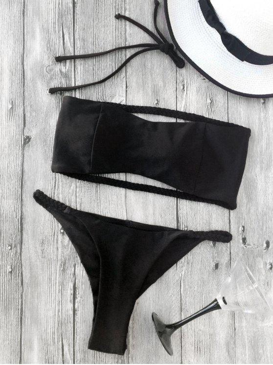 outfit Strapless Braided Bands Bikini - BLACK S