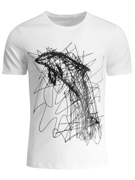chic Mens Graffiti Dolphin Graphic Jersey Tee - WHITE XL