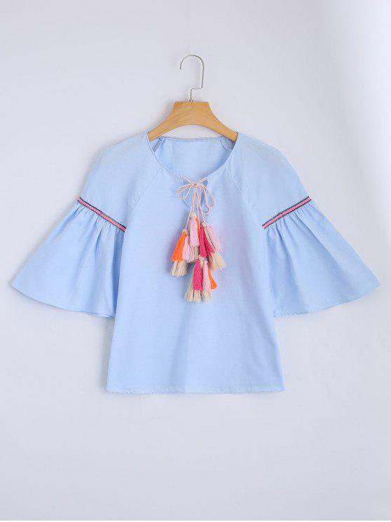 Blusa suelta de borlas de cuerda - Azul Claro L