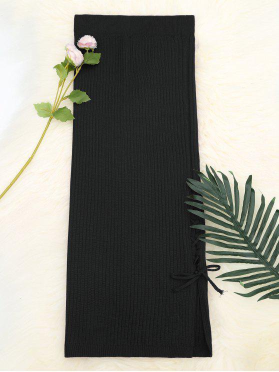 Lace Up falda de punto de cintura alta - Negro Única Talla