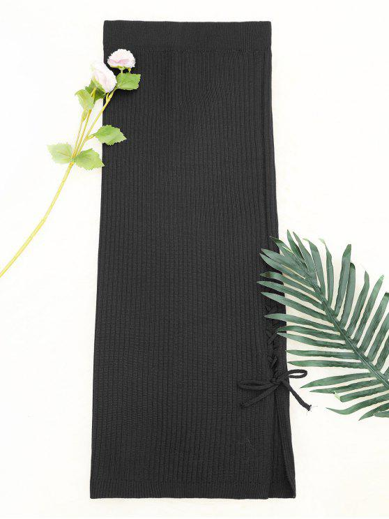 Lace Up falda de punto de cintura alta - Gris Única Talla