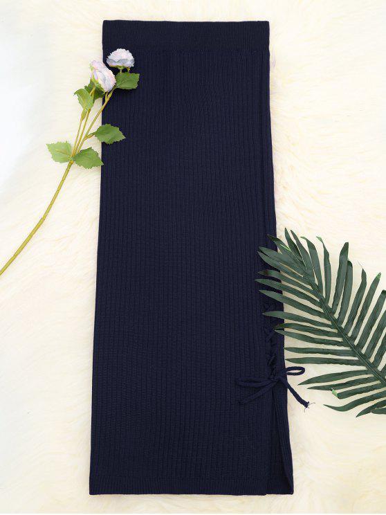 Lace Up falda de punto de cintura alta - Teal Única Talla