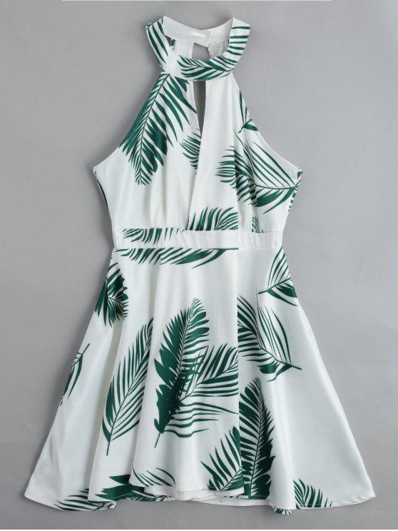 Mini Vestido Escotado con Gráfico de Hojas - Blanco L