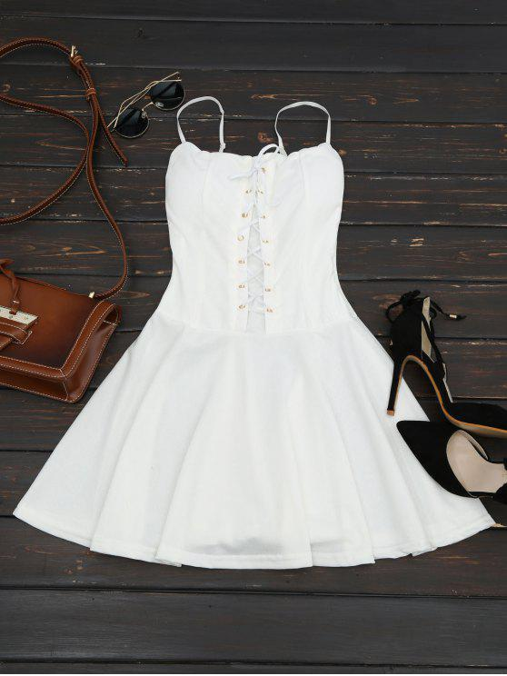 women's Lace Up Cami Flare Dress - WHITE ONE SIZE