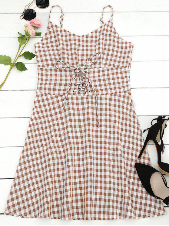 Lace Up Checked Una Línea Vestido - Comprobado S