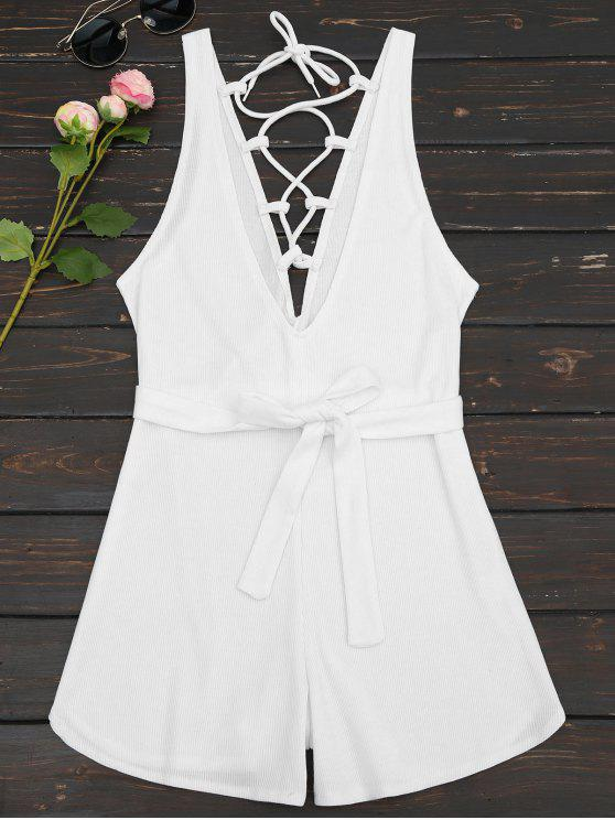 best Plunging Neck Lace Up Belted Romper - WHITE XL