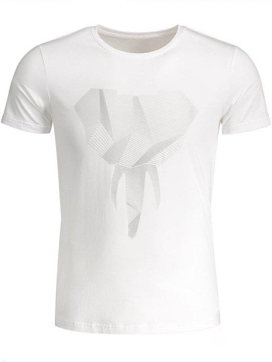 T-shirt Jersey Graphique Col Rond - Blanc 3XL