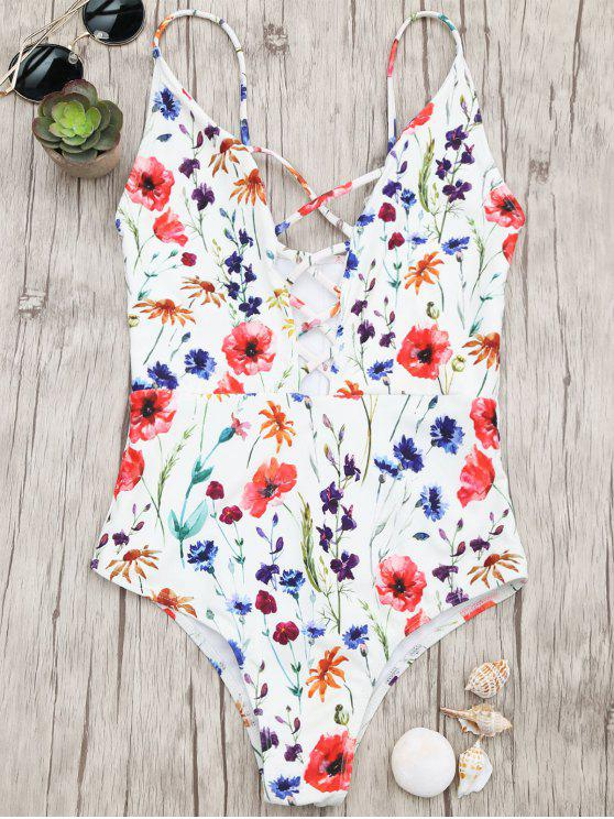 shops Bralette Tiny Floral Strappy Swimwear - FLORAL S