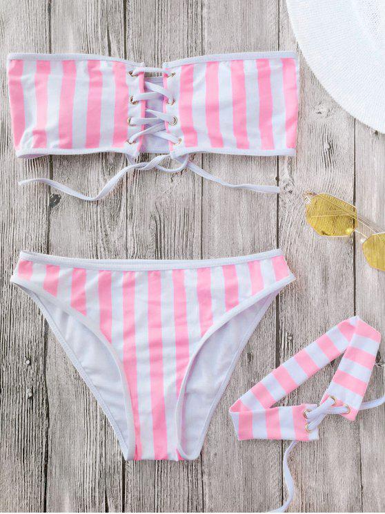 fashion Lace Up Striped Strapless Bikini with Choker - STRIPE M