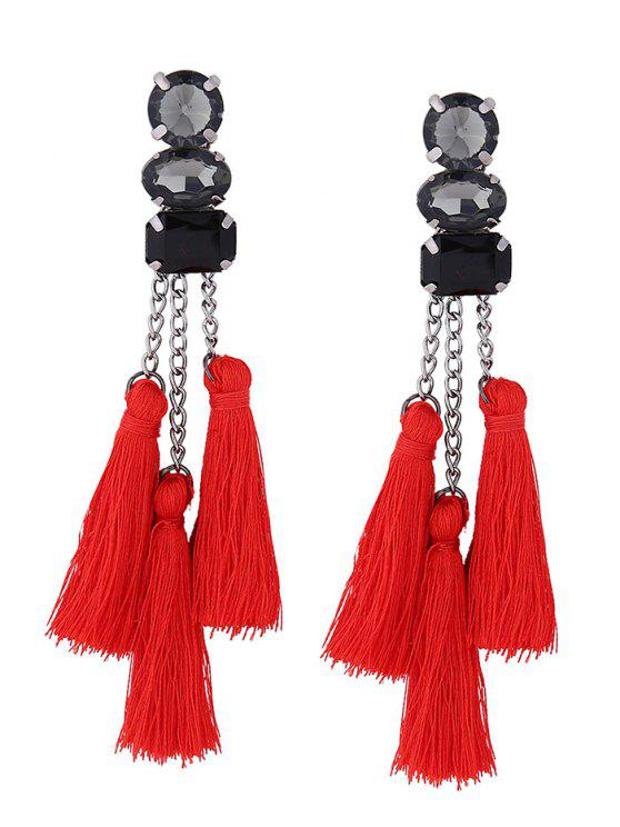 buy Rhinestone Tassel Chain Earrings - RED