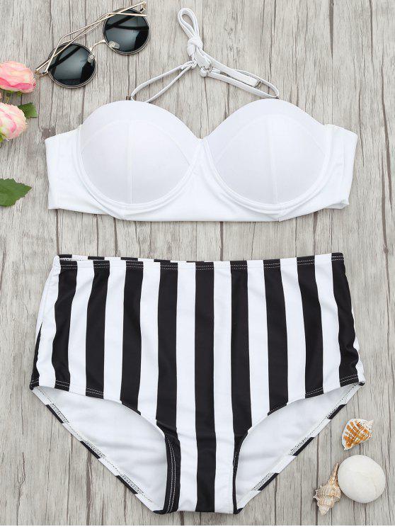 new Striped Moulded Underwire High Waisted Bikini - STRIPE S