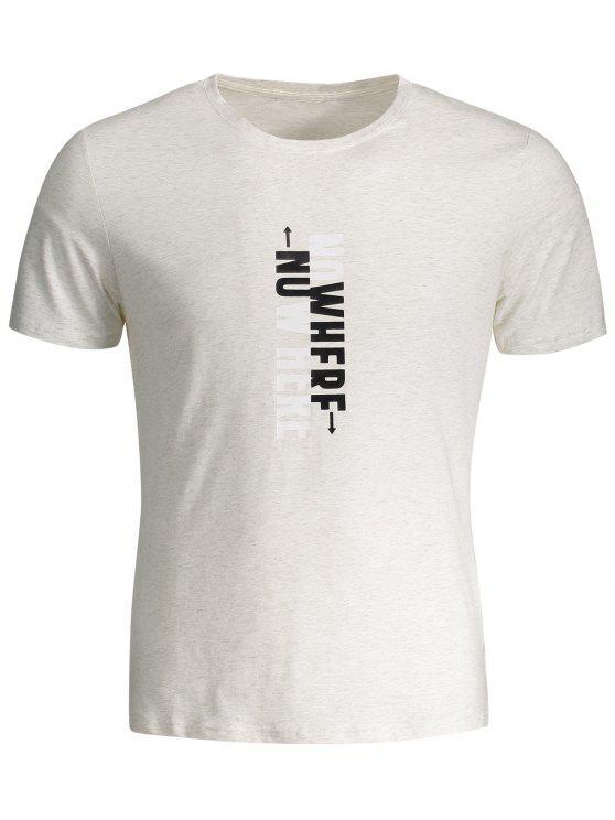 T-shirt Graphique Slogan Col Rond - Gris Clair 2XL
