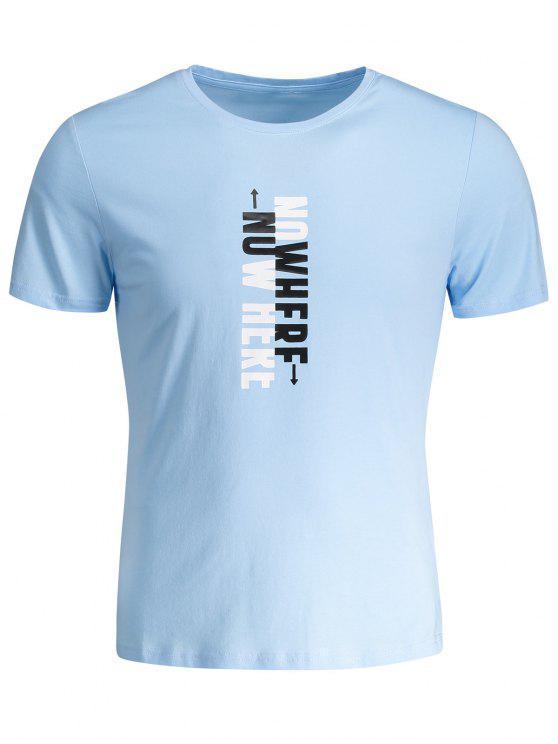 T-shirt Graphique Slogan Col Rond - Bleu clair 3XL