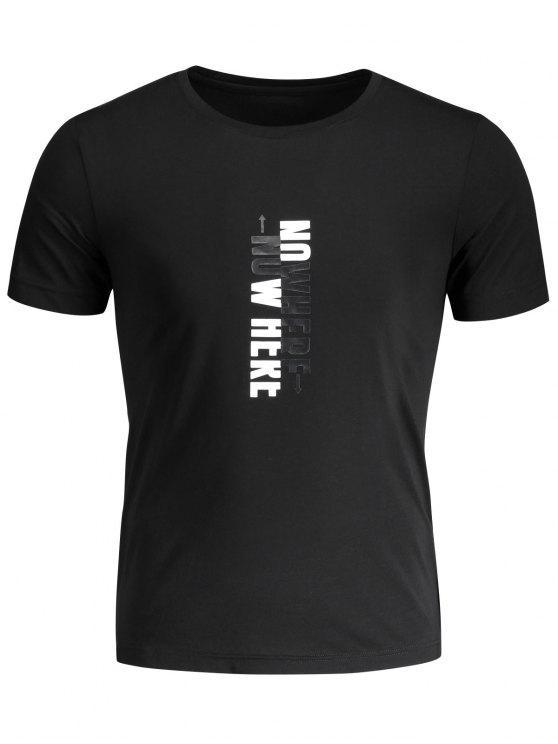 T-shirt Graphique Slogan Col Rond - Noir XL