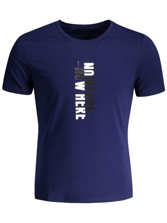 T-shirt Graphique Slogan Col Rond - Bleu Foncé 2XL