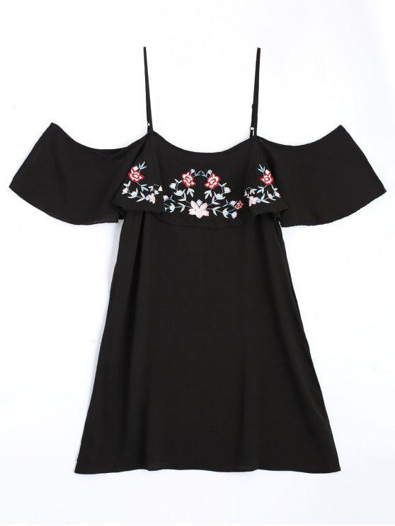 shop Embroidered Ruffles Cold Shoulder Mini Dress - BLACK L