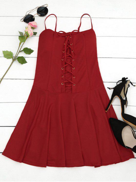 Vestido acolchado con encaje en miniatura - Rojo Única Talla