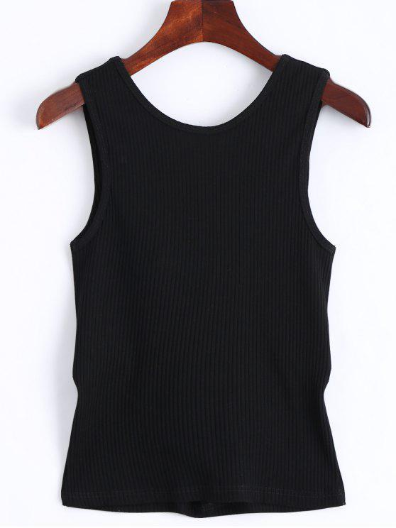 Twist Ribbed Cut Out Tank Top - Negro M