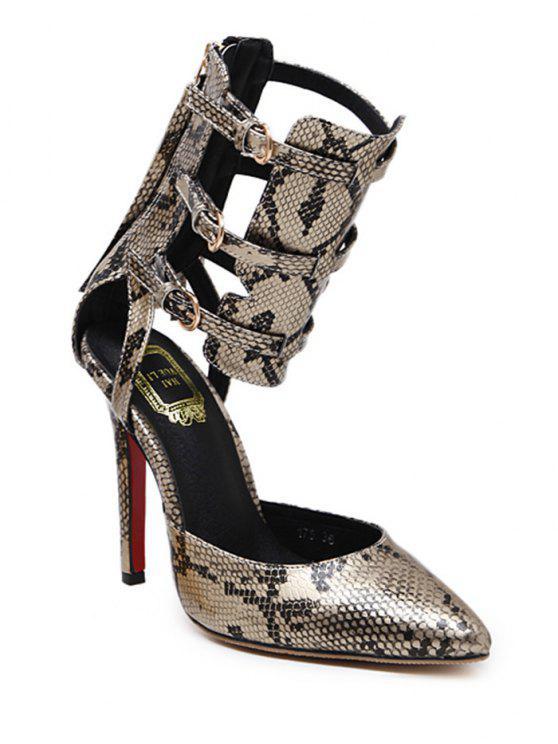 حذاء بطبعة جلد الثعبان ذو أحزمة مزين بشراشيب - ذهبي 38