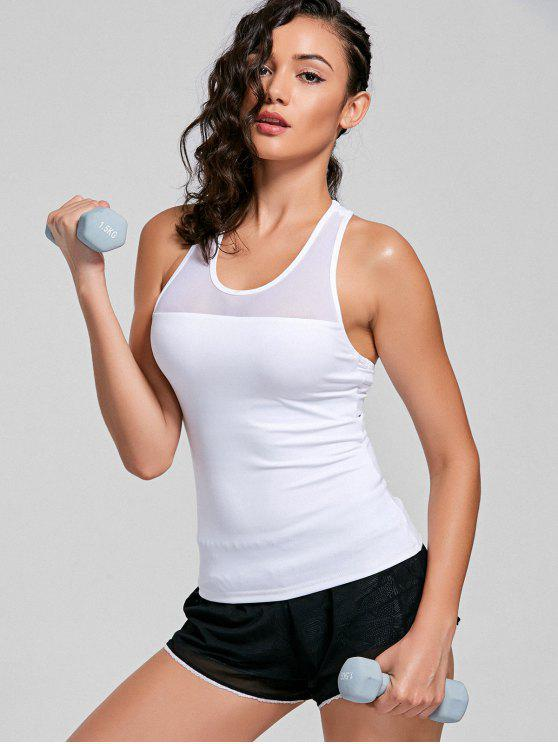 women Mesh Insert Cutout Racerback Sporty Top - WHITE M