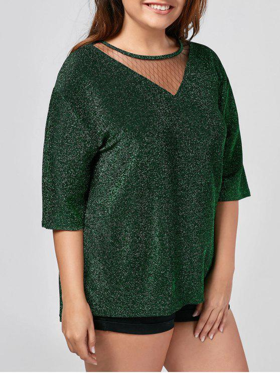 trendy Plus Size Sparkly Glitter Mesh Top - GREEN 2XL