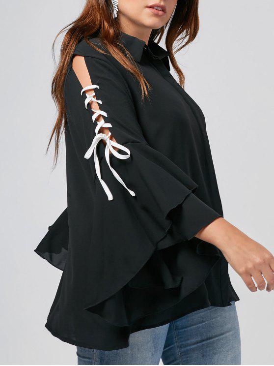Camisa de manga larga com molho de renda com tamanho grande - Preto XL