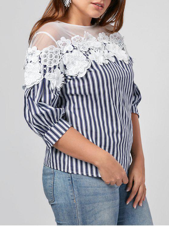 sale Floral Applique Mesh Yoke Plus Size Top - BLUE AND WHITE 4XL