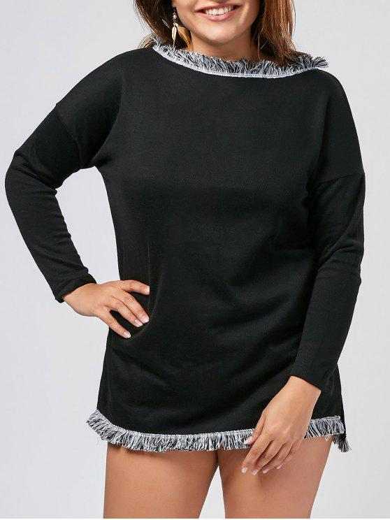 trendy Plus Size Fringed Sweater Dress - BLACK 3XL