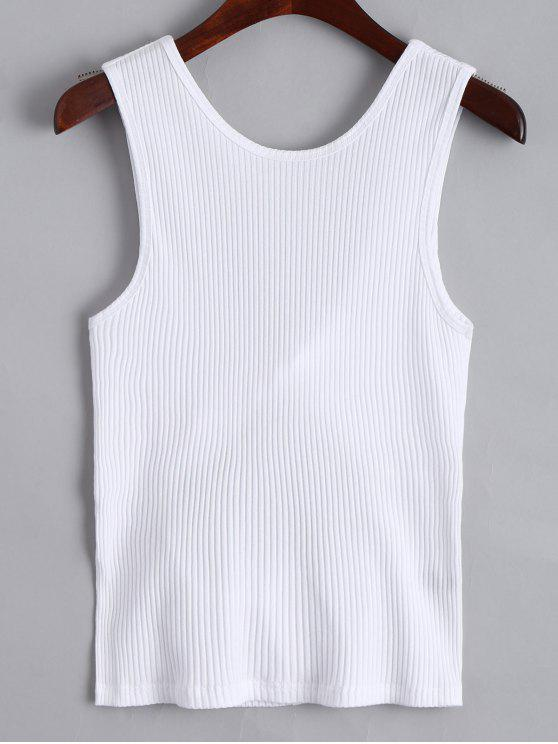 Twist Ribbed Cut Out Tank Top - Blanco S