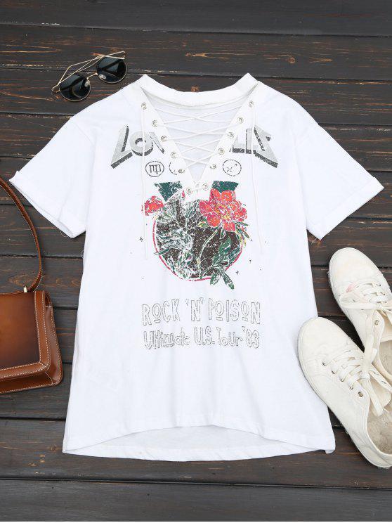 Impressão Floral Amarra o T - Branco S