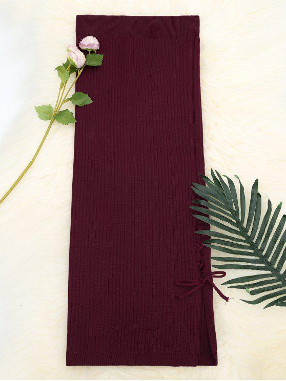 تنورة محبوك عالية الخصر رباط - نبيذ أحمر حجم واحد