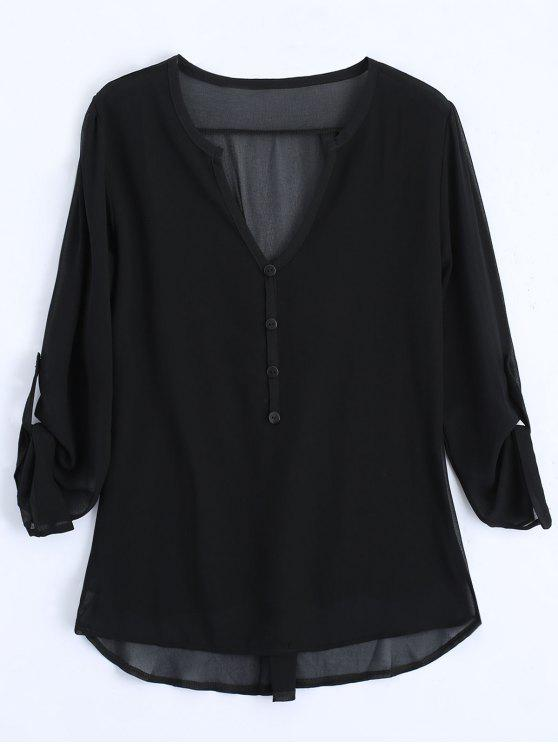 V Neck Button Embellished Blouse - Preto 2XL