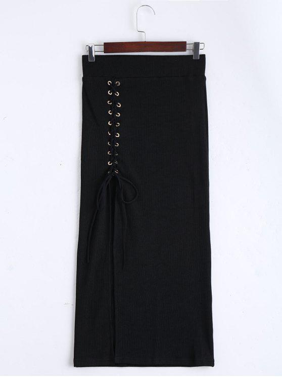 trendy High Waist Lace Up Knitted Skirt - BLACK M